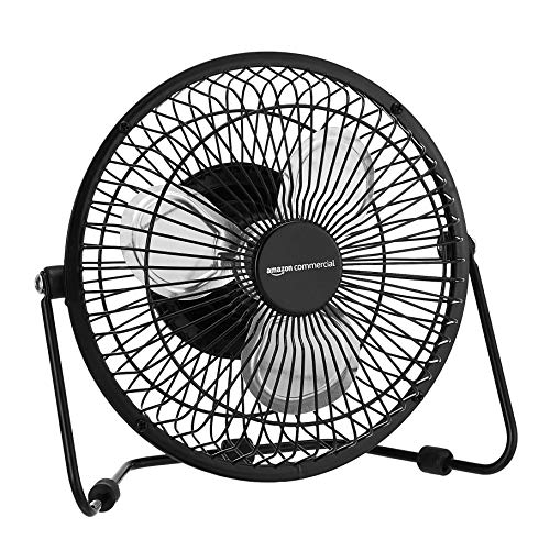 AmazonCommercial 6-Inch Table Fan with Power Adapter and USB Cable