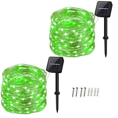 Solar Powered String Lights, Dalugo 120 LED Solar Powered Fairy Lights 40Ft 8 Modes Waterproof Garden Lights for Garden,Yard,Tree,Party,Birthday,Wedding,Indoor/Outdoor Decoration(Green-2 Pack)
