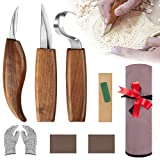 Wood Carving Tools for Beginners, Wood Carving Kit with Carving Hook Knife, Whittling Knife, Chip Carving Knife, Gloves, Carving Knife Sharpener for Spoon Bowl Kuksa Cup, Tool Gift for Men Dad Husband