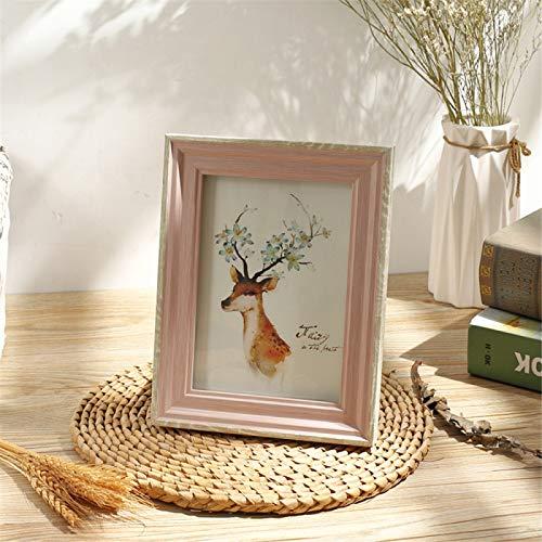 DHHY Pequeño Marco De Fotos De Madera Fresca, Marco De Fotos En Color, Decoración del Hogar, Mesa, 1 Uds. A4(21x29.7cm)