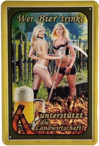 Blechschild Wer Bier trinkt unterstützt die Landwirtschaft 20 x 30 cm Reklame Retro Blech 763