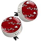 2 pezzi fiori giapponesi Fujisan modello rosso stampa aromaterapia diffusore olio essenziale medaglione chiusura magnetica con clip di sfiato 4 cuscinetti di ricarica (argento)