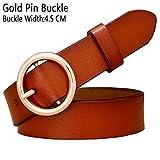 WEIYYY Fashion Round Ring Schnallengürtel Frau Ledergürtel für Frauen Qualitätsgurtweiblicher Gürtel für Jeans Breite 2,8 cm, braungoldene Schnalle, 100 cm