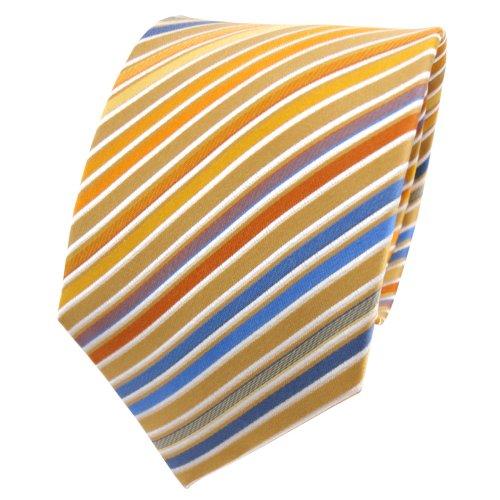TigerTie Seidenkrawatte gelb beige blau orange weiß gestreift - Krawatte Seide