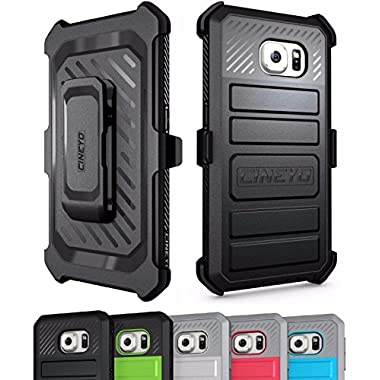 Galaxy S6 Case, CINEYO(TM) Heavy Duty Belt Clip Holster Case For Samsung Galaxy S6 Full-body Rugged Hybrid Protective Cover with Swivel Belt Clip (Samsung Galaxy S6 case Black) (Black)