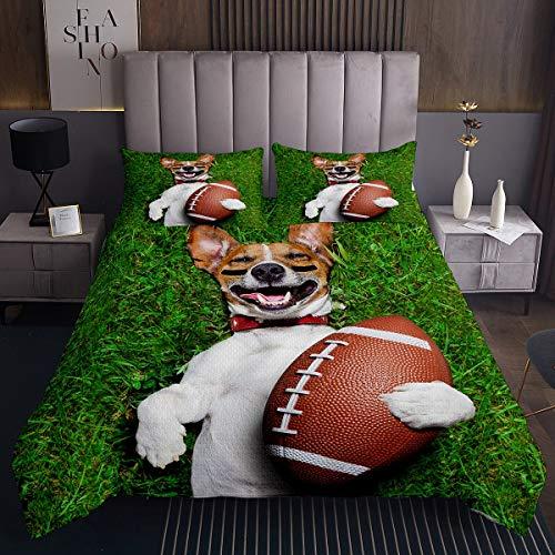 H& gedruckt Bettüberwurf niedlichen Welpen H& Tagesdecke 170x210cm Für Kinder Rugby Sport Thema Steppdecke 3D Tiermuster Wohndecke Grün Schlafzimmer Dekor 2St