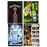 NNGT 4PCS Jack Danniel Vintage Wall Art Decor Heinken Beer