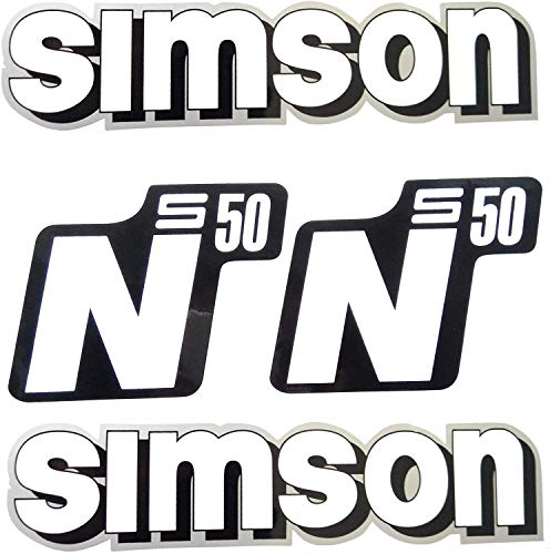 Set Aufkleber Simson S50 N weiß für Tank und Seitendeckel - alte Form -