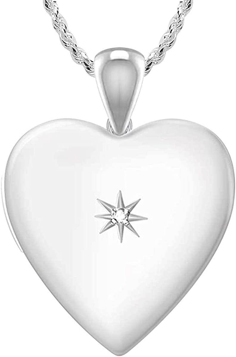 US Jewels And Gems 925 Sterling Silver 1in 2 Photo Heart Locket with Diamond Accent Pendant Necklace 18 to 24