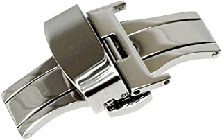 RECHERE Stainless Steel Push Button Butterfly Deployment Clasp for Leather Watch Band Strap