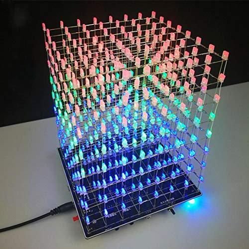 ILS 3D Light Cube Kit 8 x 8 x 8 LED Amplificador para altavoces MP3 incorporado con espectro musical de 3 W