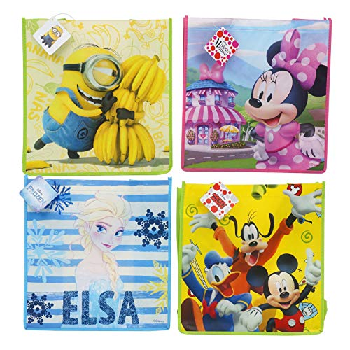 Disney [4-Pack] Frozen, Mickey & Friends, Minnie Mouse, & Minions 13-inch Reusable Totes, Party Favor or Gift Bags with Handle
