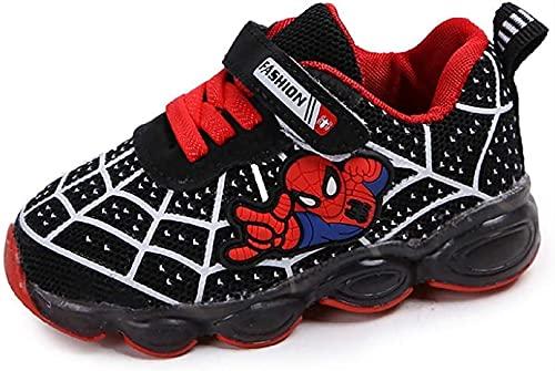 GYTH Zapatos de niños Spiderman, Luz DIRIGIÓ Zapatos para niños, fácil Cerrar de Velcro Zapatillas Luminosas Zapatillas Entrenadores niños niñas bebés Mejor Regalo cumpleaños Halloween Navidad