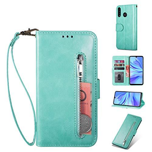 ZTOFERA Huawei P20 Lite Hülle, Magnetisch Folio Flip Wallet Leder Standfunktion Reißverschluss schutzhülle mit Trageschlaufe, Brieftasche Hülle für Huawei P20 Lite - Minzgrün
