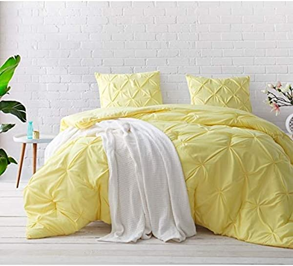 Byourbed BYB Limelight Yellow Pin Tuck Comforter Set Queen