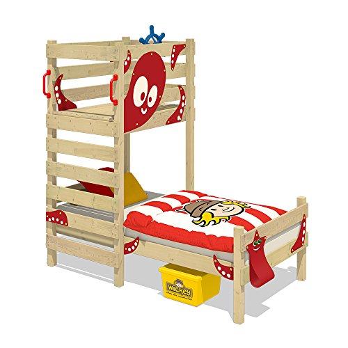 WICKEY Lit de jeux Crazy Octopus Lit enfant 90x200 Lit simple en bois pour garçons et filles avec plateforme ludique et sommiers à lattes, rouge