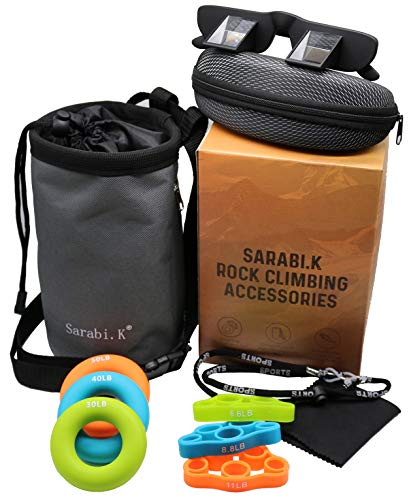 SarabiK Rock Climbing Accessories Set: 6pc Hand Grip Strengthener Set  Climbing Chalk Bag with Drawstring  Belay Glasses with Neck String Cleaning Cloth and Case