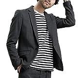 メンズジャケット サマー テーラードジャケット 春 ビジネス おしゃれ スーツ生地 大きいサイズ (XXXXXL, チャコール)