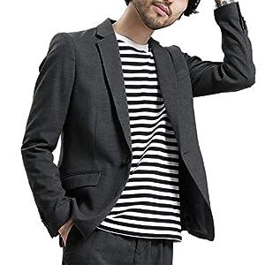 メンズジャケット サマー テーラードジャケット 春 ビジネス おしゃれ スーツ生地 大きいサイズ,XL,チャコール