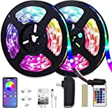 weird tails LED Strip Lights 32.8ft - (New Version) Music Sync Color Changing Lights with +50% Brightness 5050 RGB LEDs and Strong Adhesive Tape, APP Control, Dimmable, for Party, Home Decoration