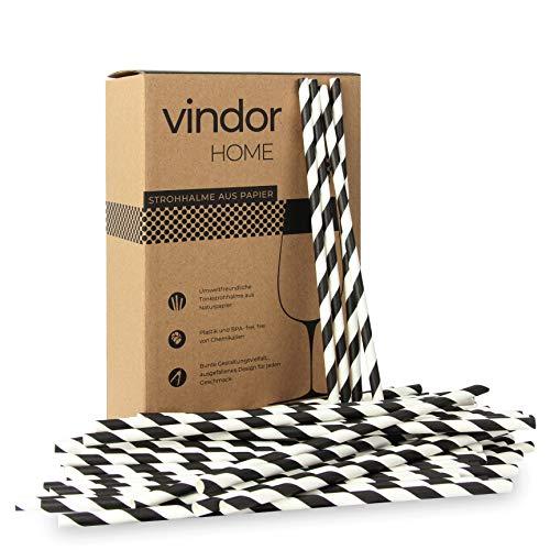 Vindor Papier Strohhalme - 200 Stück - Papierstohhalm Papier Trinkhalme umweltfreundlich, plastikfrei - schwarz weiß gestreift