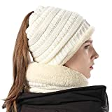 Chunky Soft Stretch Cable Knit Warm Skully Beanie with Ponytail Sacrf Set Womens White