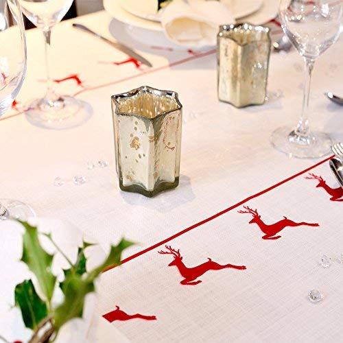 Izabela Peters Tovaglia natalizia Vintage Red Stag progettato, stampato & realizzato a mano nel Regno Unito