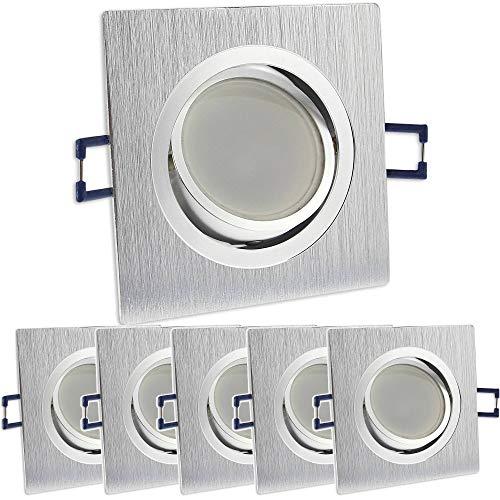 6x LED Einbaustrahler Set eckig - silber gebürstet 5 Watt neutralweiß dimmbar 230V flach (30mm Tiefe) – Einbauleuchte schwenkbar 70mm Bohrloch – Einbau-Spot neu Decken-Strahler