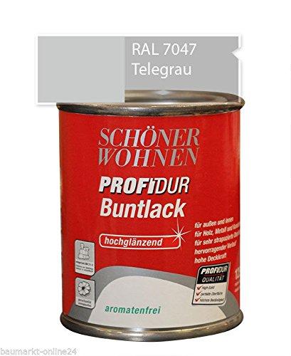Profidur 375 ml Buntlack RAL 7047 Telegrau Hochglänzend Schöner Wohnen