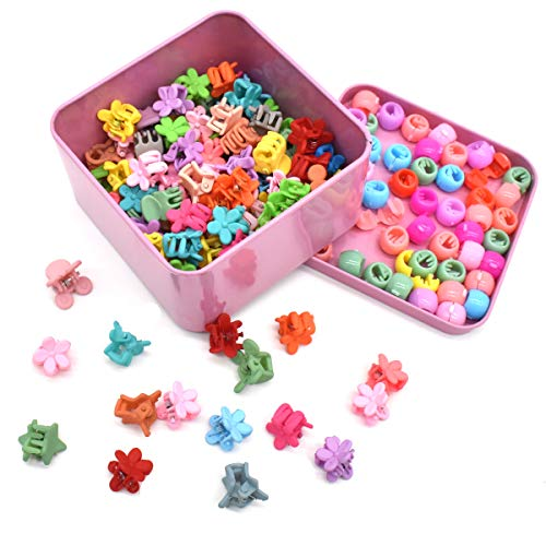 Yueser 150 Stück Mini Haar Klammer Mini Haarclips Kleine Blumen Herz und Sterne Form Regenbogen Perlen Clip für Mädchen/Kleinkinder/Damen