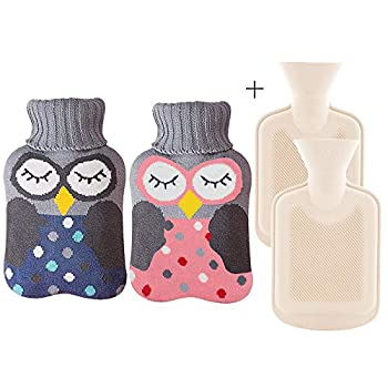 2 Pack Rubber Hot Water Bottle Small with Cover - Cute Hot Water Bag for Pain Relief Neck and Shoulders Feet Warmer Menstrual Cramps Hot and Cold Therapy - Cartoon owl Pattern 1 L*2
