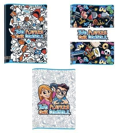 Quaderno TWO PLAYERS ONE CONSOLE scuola rigo 1° e 2° elementare Pack da 5 pz più Cartella elastico/Raccoglitore in omaggio