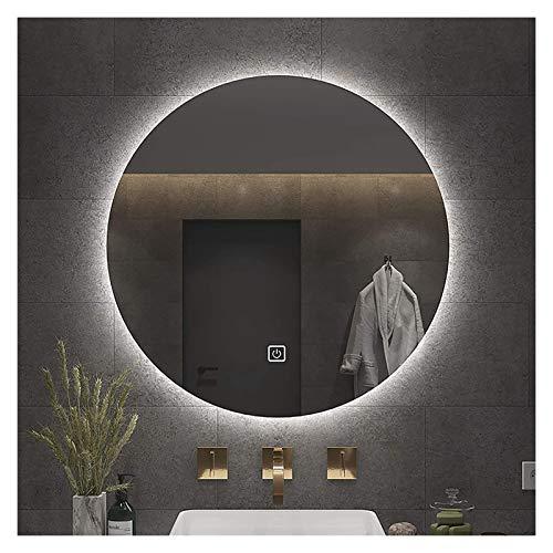 Espejo redondo retroiluminado, espejo de baño LED iluminado (color luz blanca, tamaño: 70 cm)
