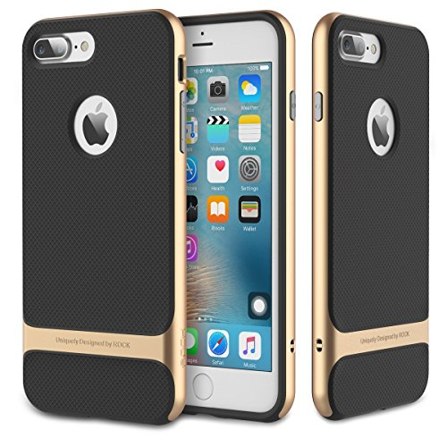 iPhone7 Plus Case,By Jabit ROCK [Royce] - Black Rose Gold[Screen Touch Pen][Glass Screen Protector][Ultra Thin][Heavy Duty][Dual Layered][Slim Fit][Hard PC + Soft TPU] Protective Cover[Gold]