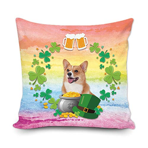BAGEYOU Funda de almohada decorativa con diseño de trébol de trébol verde con texto en inglés 'My Love Dog Corgi Green Hat Golden Beer Decor Throw Cover de cojín 40,6 x 40,6 cm