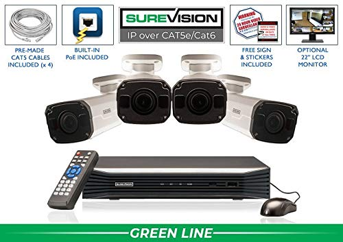 Affordable SUREVISION 4 Camera 5MP Motorized Zoom Complete Indoor/Outdoor Bullet IP System - CCTVSec...