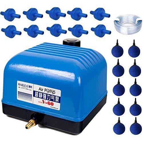 Hailea V-60 Set Aquarium Belüfter Sauerstoff Garten Eisfreihalter Luftpumpe 35 W
