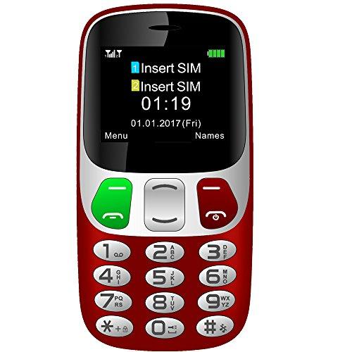 Seniorenhandy mit Großen Tasten und Mobiltelefon Handy Notruffunktion mit SOS-Taste by YINGTAI T47 2G (rot)