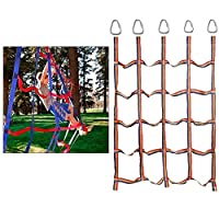 レインボークライミングネット 室内 外遊び アウトドア スポーツ 登山 登り用練習 遊具 子供ノットロープ クライミングロープ 子供用登山カーゴネットの簡単設置,145X185cm