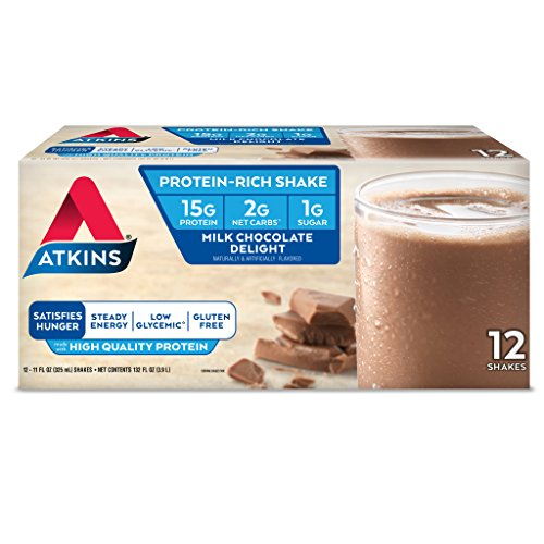 Atkins Gluten Free Protein-Rich Shake, Milk Chocolate Delight, Keto-Friendly, 12 Count