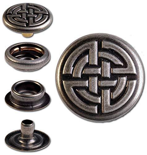 Hoppe & Masztalerz 50 Ringfeder-Druckknöpfe F3 Keltischer Knoten 17mm aus Messing (nickelfrei), Finish: Nickel-antik, Verschlusskraft: stark