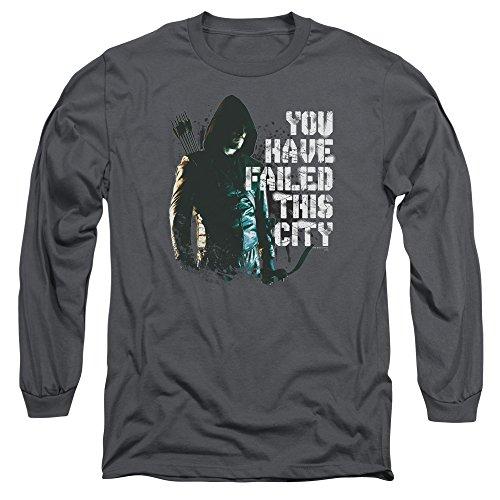 Green Arrow - T-shirt pour hommes vous avez échoué à manches longues -, Large, Charcoal
