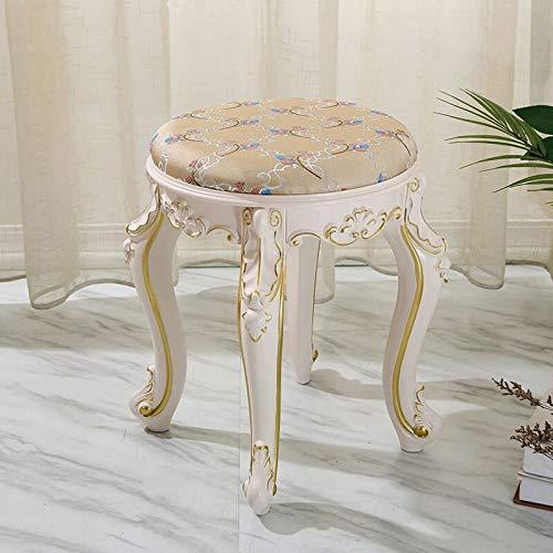 Preisvergleich Produktbild FENGZI Schminktisch Hocker,  gepolsterte Bank Stuhl Make-up Sitz Barock Klavierstuhl für Wohnzimmer Schlafzimmer verspiegelte Schminktisch Hocker Vanity Make-up Stuhl gepolstert Kissen
