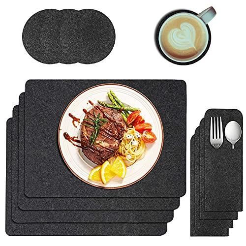 Manteles Individuales,Salvamanteles Individuales de Fieltro con Posavasos y Bolsa de Cubiertos Juego de 12, para Comedor, Mesa de Cocina