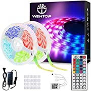WenTop Led Strip Lights 65.6ft for Bedroom with Remote (2 Rolls of 32.8ft)