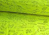 Qualitativ hochwertiger Softshell Stoff, Dinosaurier, Neon