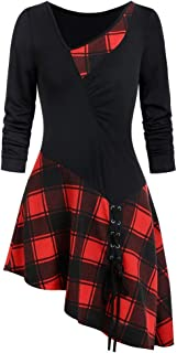 Sceoyche Women Patchwork Strappy Asymmetrical Skew Neck Ruched Lace Up Plaid T-shirt