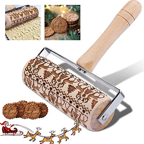 WELLXUNK® Embossed Rolling Pin Wooden, 3D Engraved Rolling Pin, Natural Safe Wood Roller Pin with Classic Pattern for Fondant Dough Cookie Pizza Pastry Baking Pie (A)
