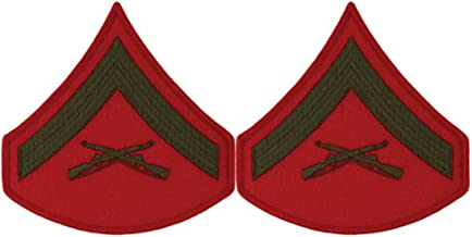 Green on Red USMC Chevrons - Lance Corporal - Male
