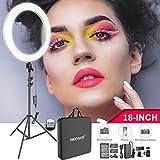 Neewer 18インチLEDリングライトキット 調光可能な色温度 バッテリー、USB充電器、電源アダプター、スマホホルダー、ライトスタンド付き 肖像撮影、ビデオ撮影、メイク、自撮り撮影に対応「ホワイト」